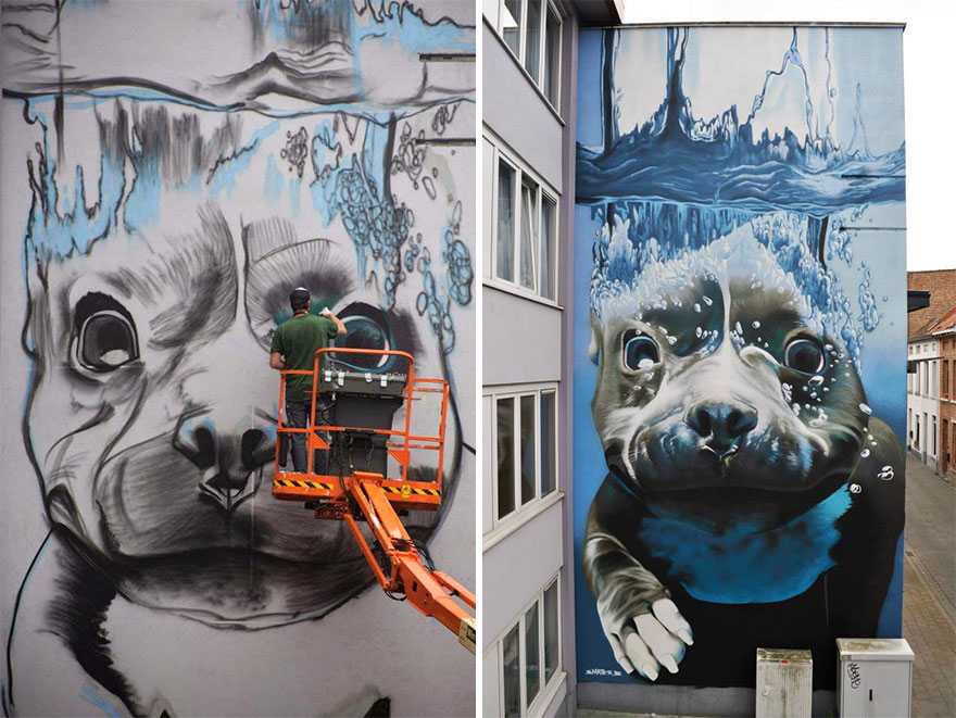 14095579297554 diving dog street art mural smates bart smeets 5 4 Story Street Art Mural Of A Dog Diving Underwater Unveiled In Belgium