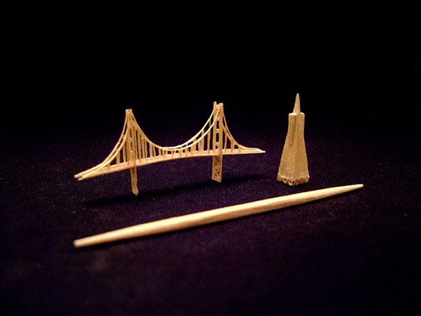 14095581848224 toothpick art golden gate bridge Who would Imagine a Single Toothpick could build all these structures!! Eiffel Tower is Terrific..