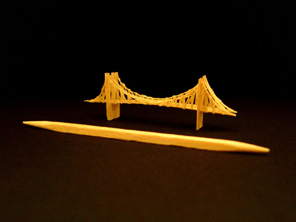 140955818642 toothpick art brooklyn bridge Who would Imagine a Single Toothpick could build all these structures!! Eiffel Tower is Terrific..