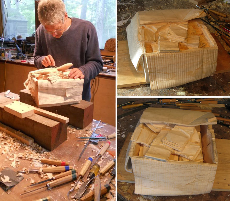 14095586353672 realistic wood sculptures box of cash randall rosenthal 5 b How Randall Rosenthal Turned Some Wood Into A Box Full Of Cash