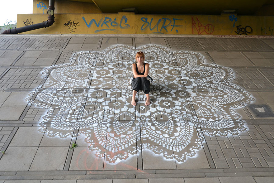 14095591742464 crochet lace street art nespoon 2 Intricate Lace design on Poland city streets will leave you spellbound!