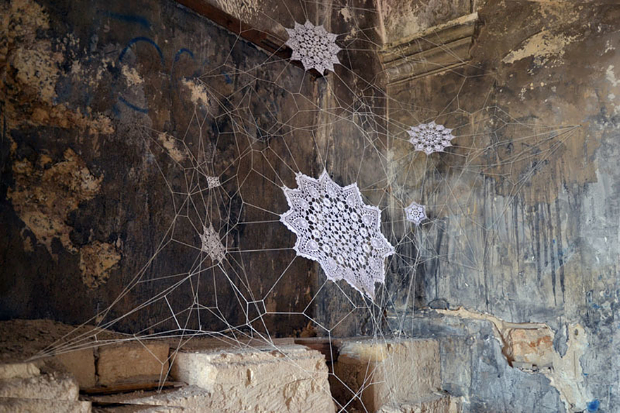 14095591756265 crochet lace street art nespoon 9 Intricate Lace design on Poland city streets will leave you spellbound!