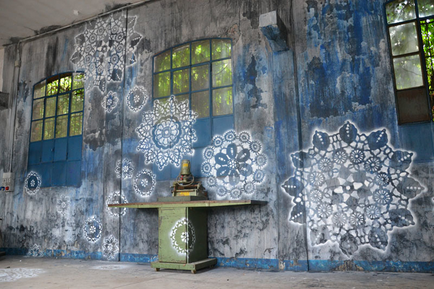 14095591759707 crochet lace street art nespoon 3 Intricate Lace design on Poland city streets will leave you spellbound!